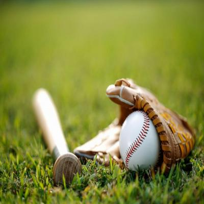 Baseball bat, ball and glove
