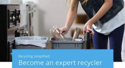 Lady recyling and separating items