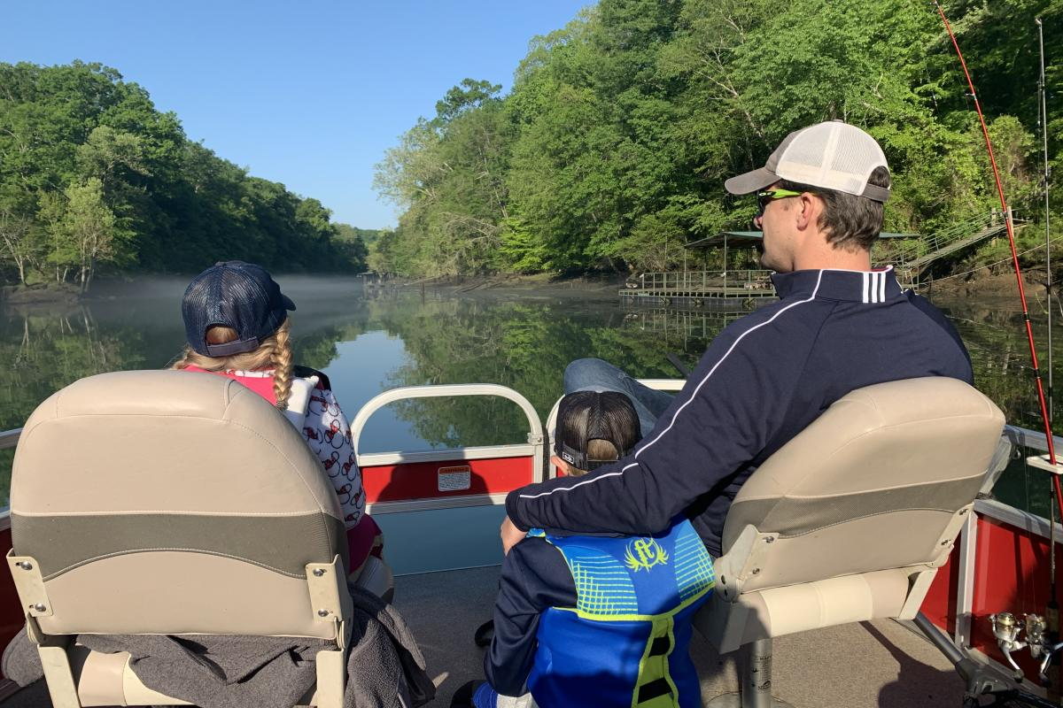 family fishing on the Little Red
