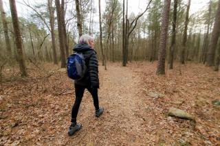 Lady hiking the trails
